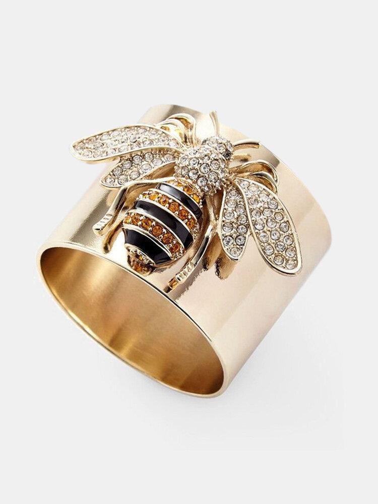 Vintage Stylish Alloy Bee Diamond Ring