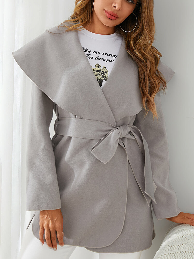 Solid Color Knotted Lapel Collar Casual Coat For Women
