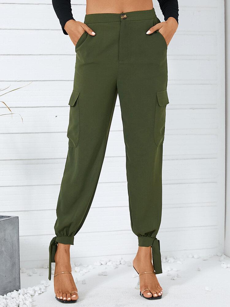 Bolsillo con botones anudado de color liso Largo informal Pantalones para Mujer