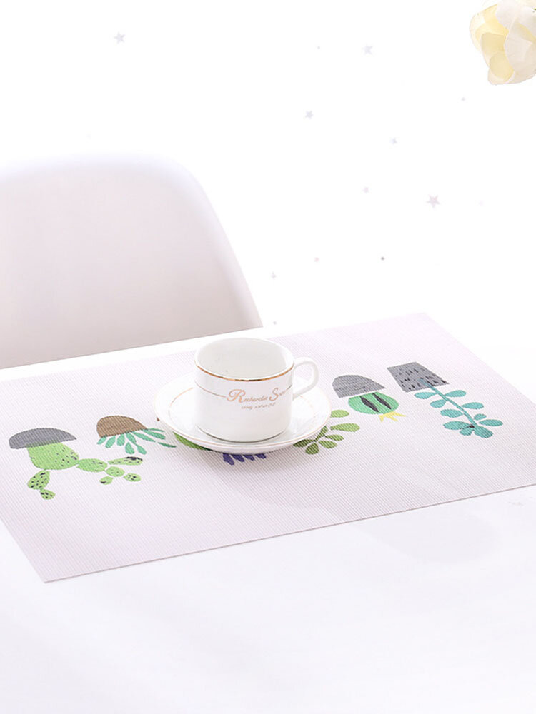 1PC Placemat Table Mats Plant Pattern Heat Resistant Insulation Wipeable Waterproof Washable Kitchen Dining Patio Table Placemats