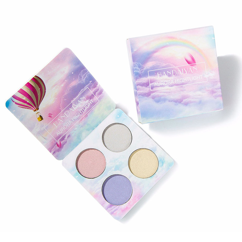 4 Colors Highlight Palette Shimmer Glitter Eye Shadow Palette Glow Face Powder Palette Face Cosmetic