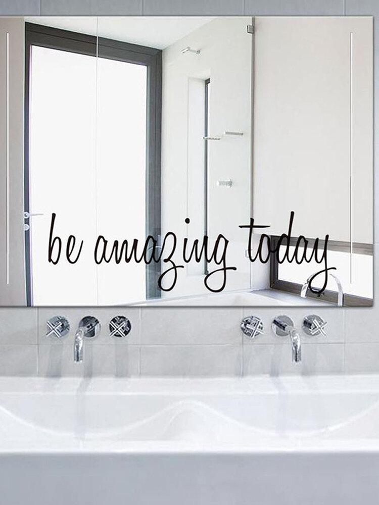 1 шт., Английские буквы, слова, цитата, будьте удивительны сегодня, вдохновляющий слоган, самоклеящиеся, съемные настенные зеркала, наклейка, домашний декор для учебы, гостиной, спальни, Ванная комната, кафе, магазина, наклейки на стену