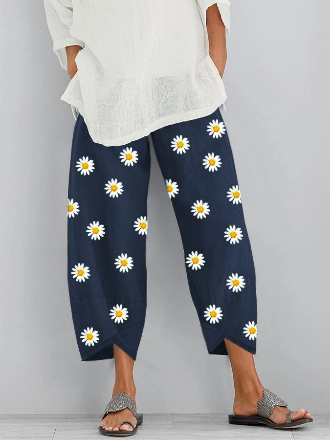 Daisy Floral Printed Elastic Waist Pants With Pocket