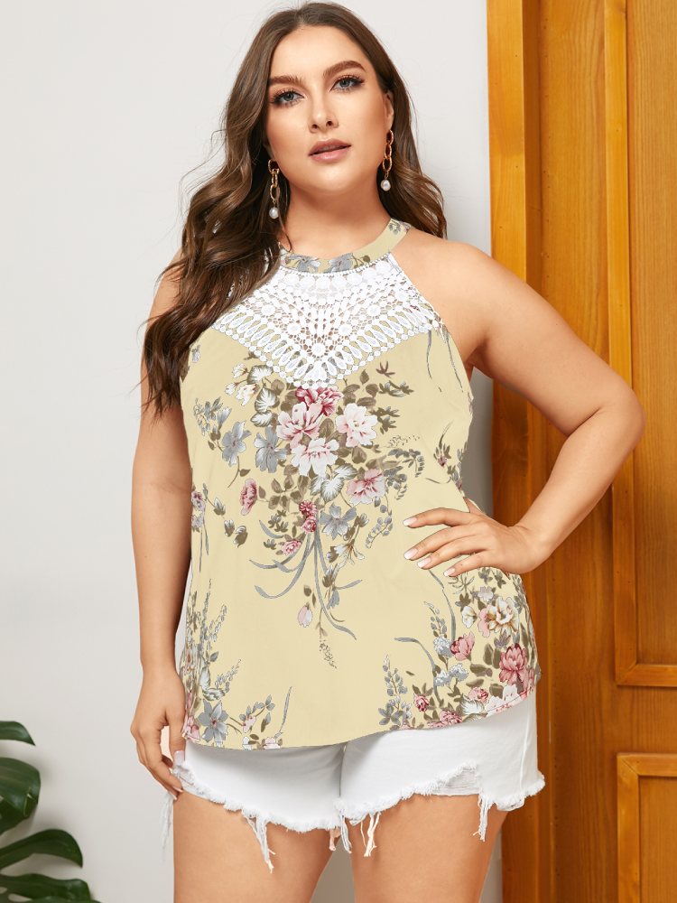 Lace Floral Print Halter Sleeveless Plus Size Tank Top for Women