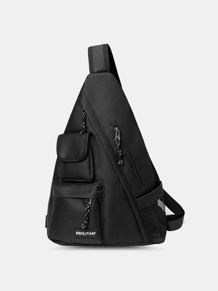 Men Nylon Street Functional Tooling Vintage Black Crossbody Bag Chest Bag