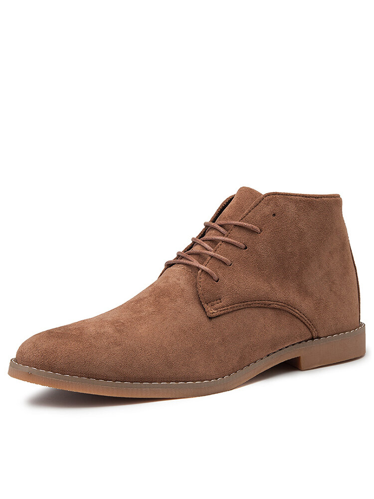 Men British Stylish Suede Comfy Soft Lace Up Casual Ankle Chukka Boots