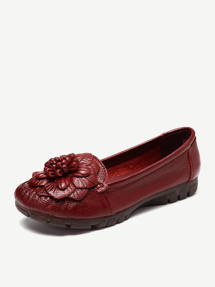 Genuine Leather Flower Retro Slip On Vintage Flat Loafers