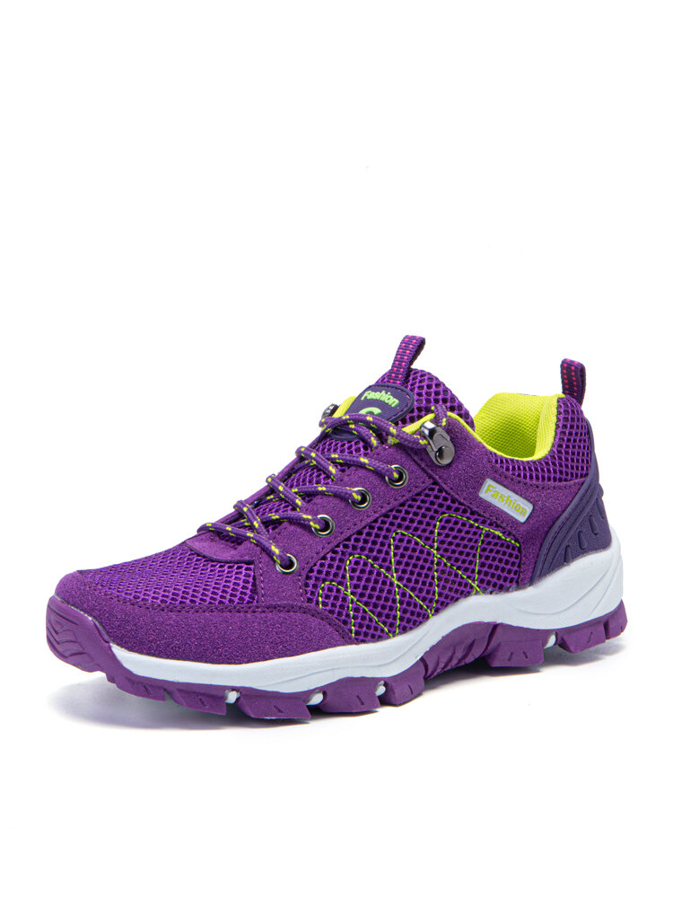 Women Breathable Mesh Slip Resistant Lace Up Hiking Sneakers