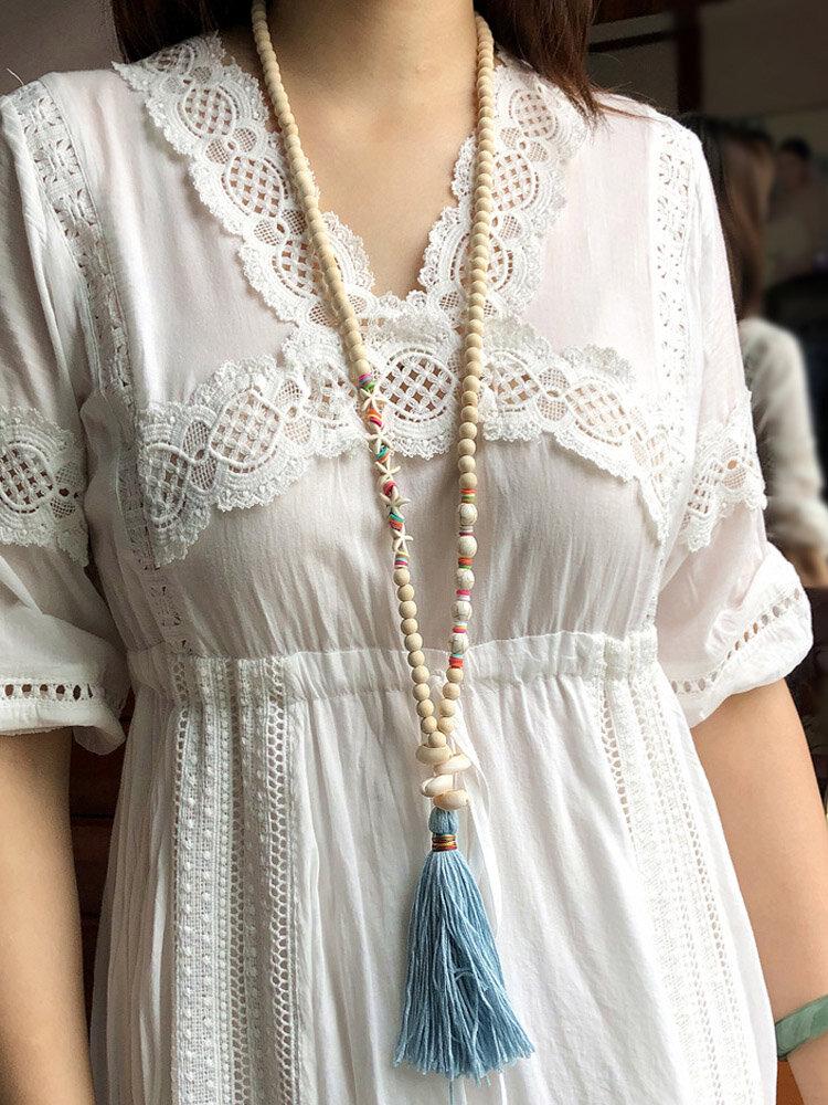 Bohème en bois perle coquille pompon pendentif long collier étoile de mer turquoise collier de perles