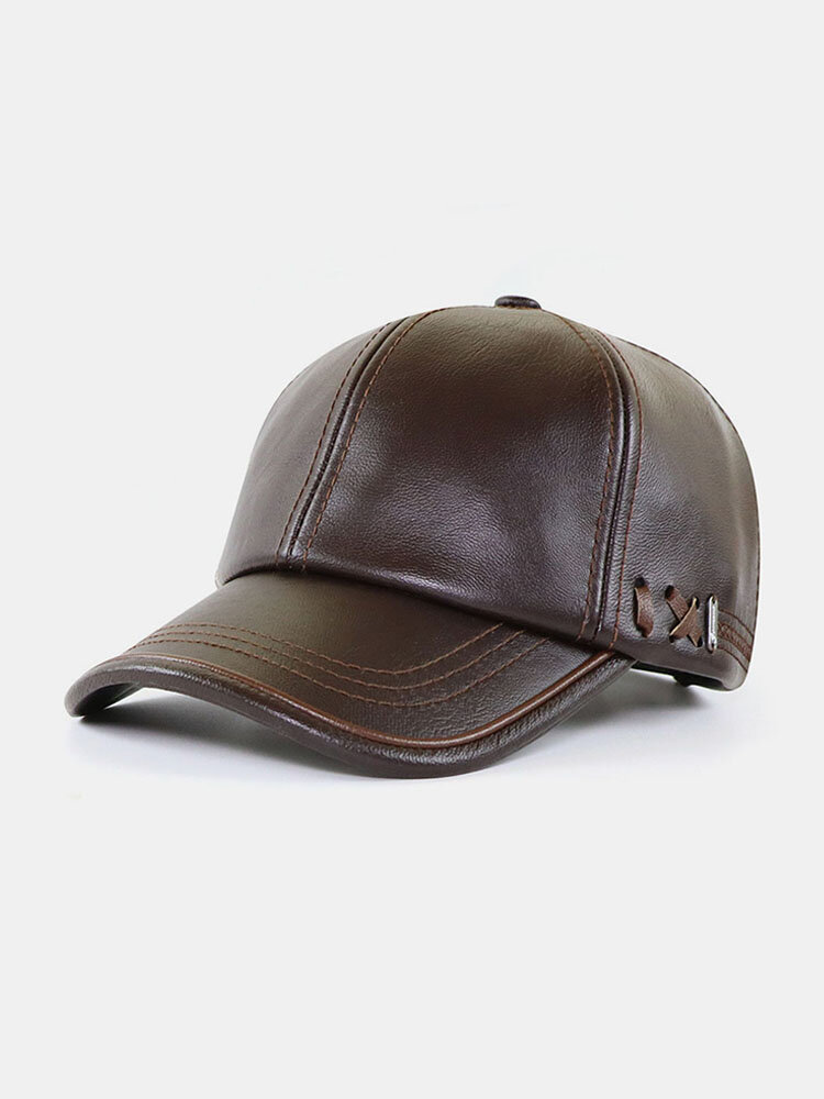 Autumn And Winter PU Leather Hat With Velvet Warmth Men's Outdoor Baseball Cap Fashion All-Match Cap