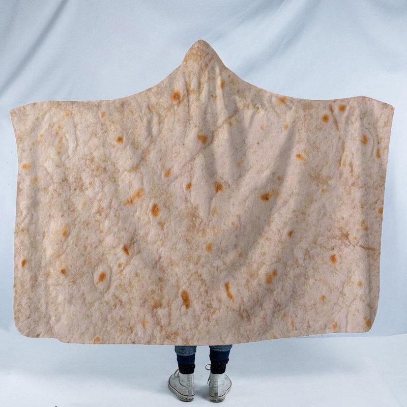 3D المكسيكي Burritos تاكو لبس بطانية مقنع رداء دافئ عباءة الرأس