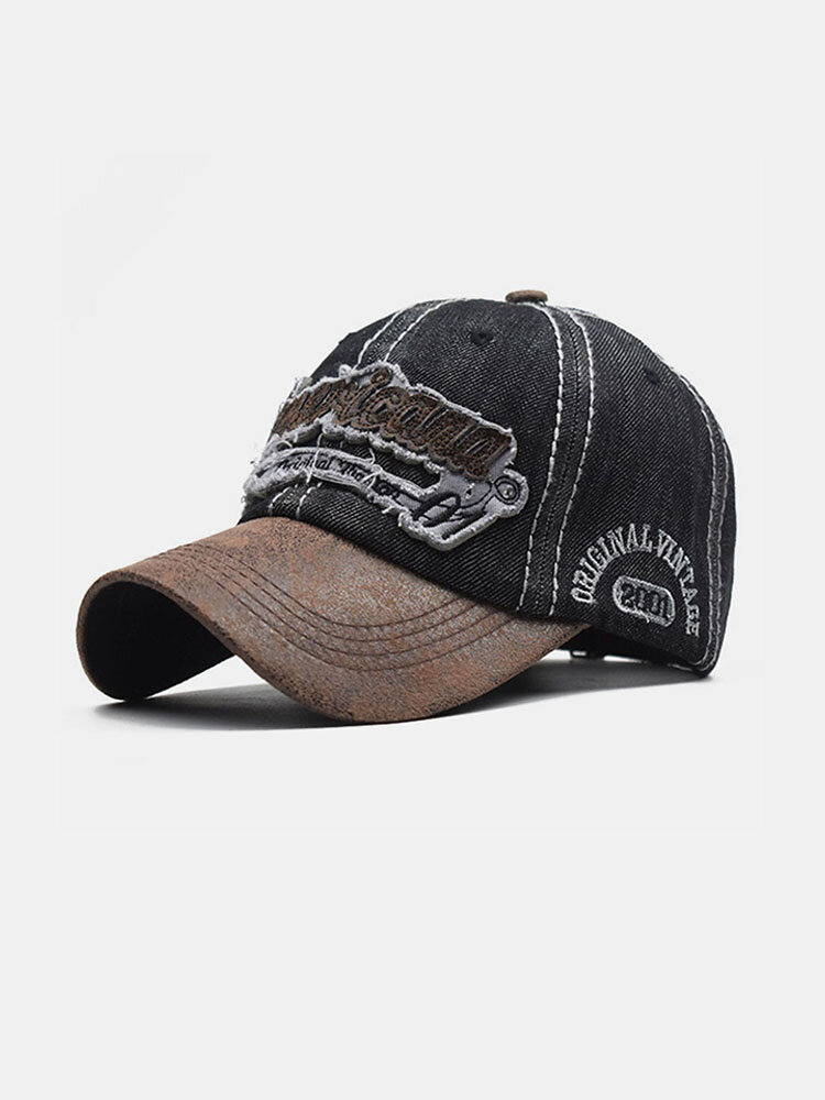 Embroidered Letters Stitching Made Old Washed Denim Baseball Cap