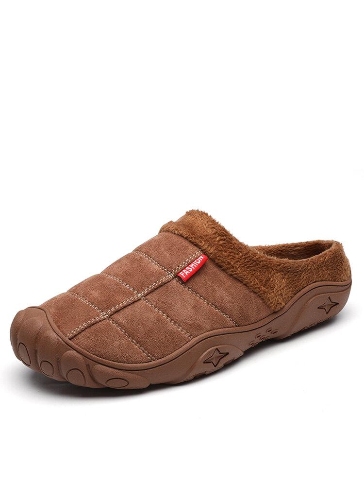 Men Soft Comfy Suede Non Slip Warm Home Cotton Slippers