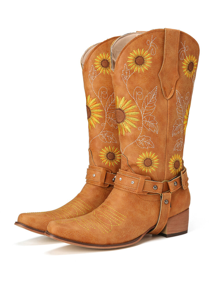 Women Retro Sunflowers Embroidered Pointed Toe Chunky Heel Harness Cowboy Boots