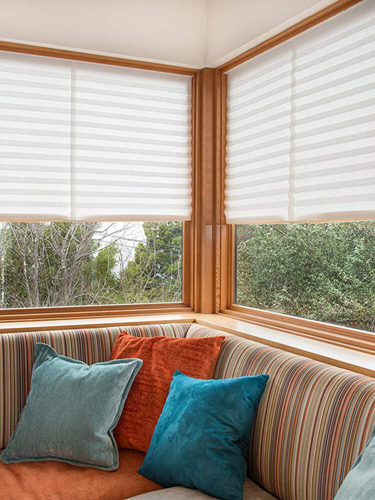 Cortina plisada de 1 pieza, filtrado de luz inalámbrico, tela plisada, cortina ciega, luz fácil de cortar e instalar