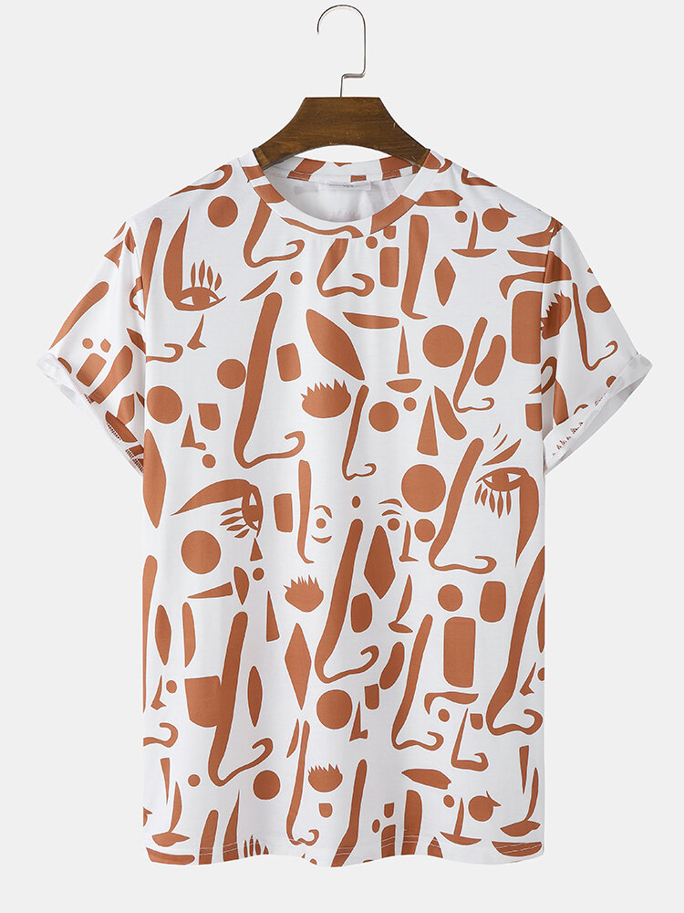 Mens All Over Abstract Face Print Casual Short Sleeve T-Shirts