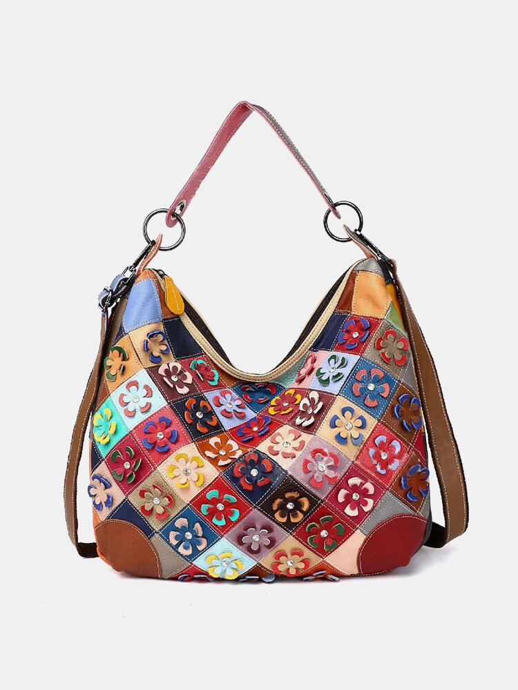 女性本革牛革アーガイル柄プリントフローラルショルダーバッグハンドバッグ
