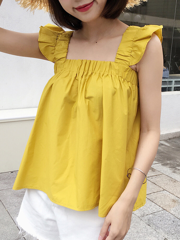 Solid Square Collar Ruffle Short Sleeve Women Blouse