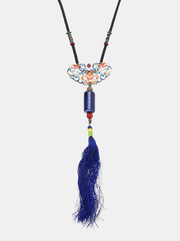 Women's Ethnic Necklace Tassel Flower Alloy Agate Ceramic Necklace