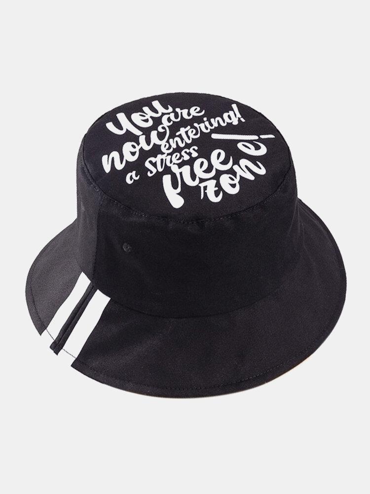 Cappello da pescatore unisex in cotone con stampa a lettera Modello in twill