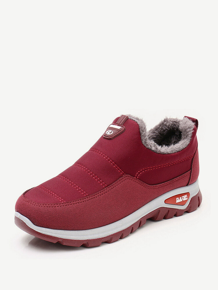 Women Casual Stitching Warm Waterproof Ankle Cotton Boots