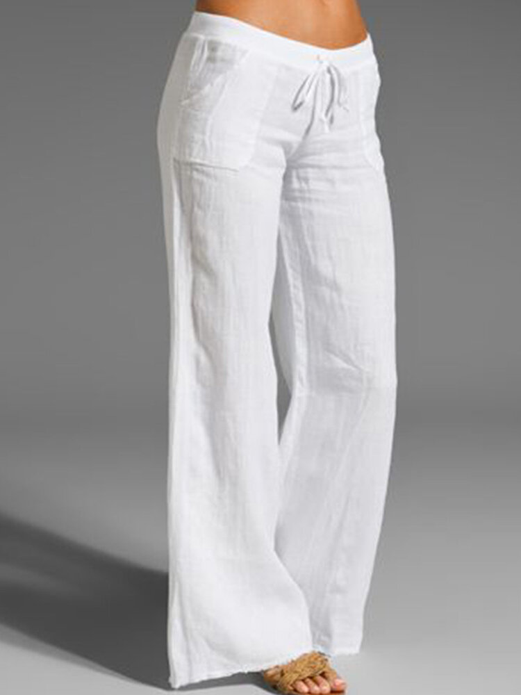 Woman Casual Sweet Solid Pants With Pocket