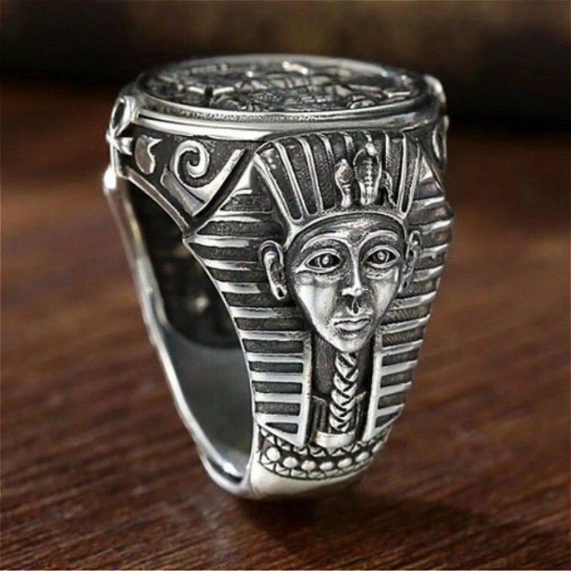 Anneau en acier inoxydable Anubis égyptien antique de personnalité Vintage pour hommes accessoires de bijoux de doigt