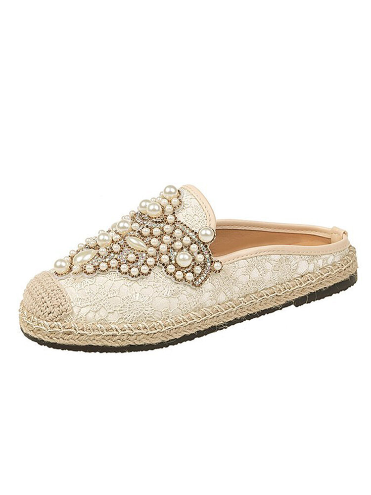 Women Pearl Decor Lace Print Decoration Flats Loafers
