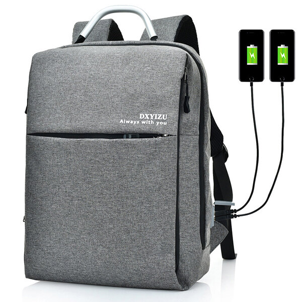 15.6 Inch Multi Pocket Dacron Backpack Solid Laptop Bag With Dual USB Charger For Men Women
