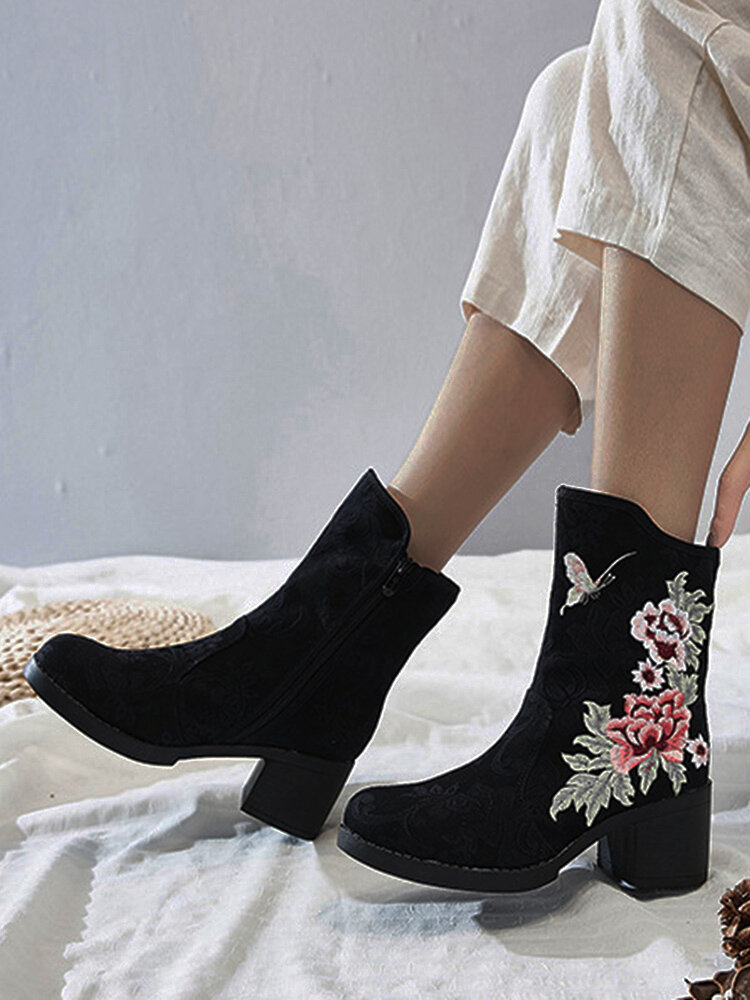 Autumn & Winter Embroidered Element Warm Lining Comfy Women's Short Boots