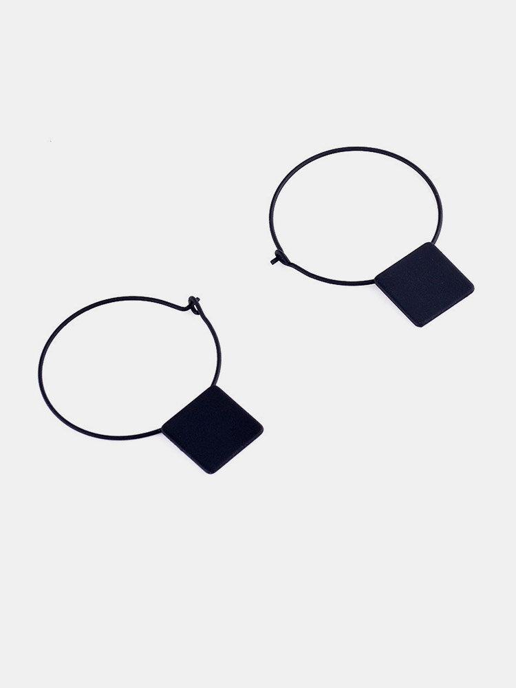 Simple Cobre Cuadrado de geometría circular Colgante Pendientes para Mujer