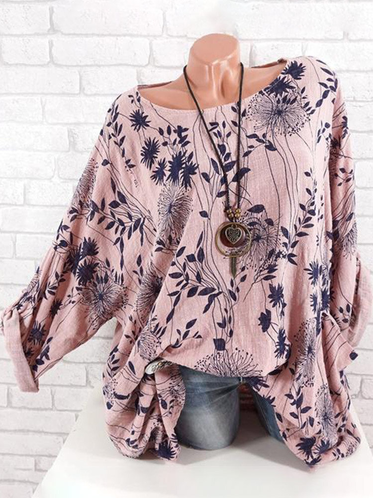 Casual Floral Print Long Sleeve Loose Pullover Shirt