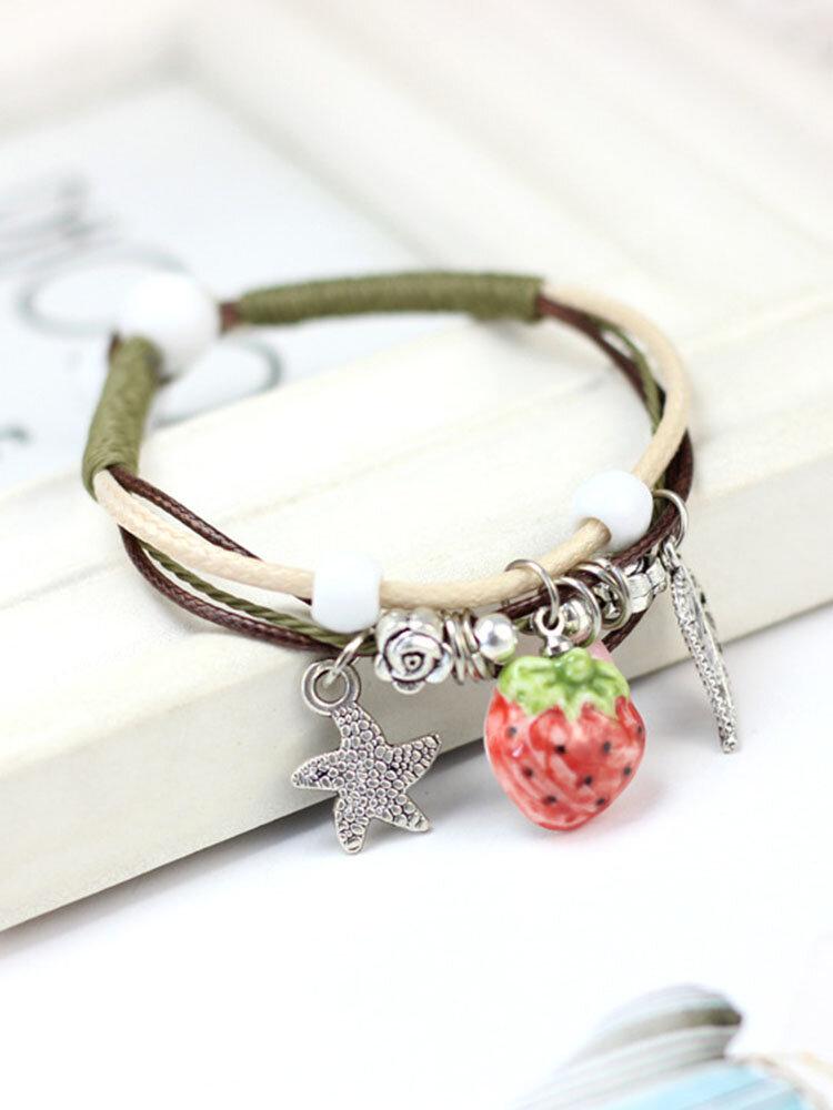 Ceramics Alloy Vintage Cute Fruit Cherry Strawberry Bracelet