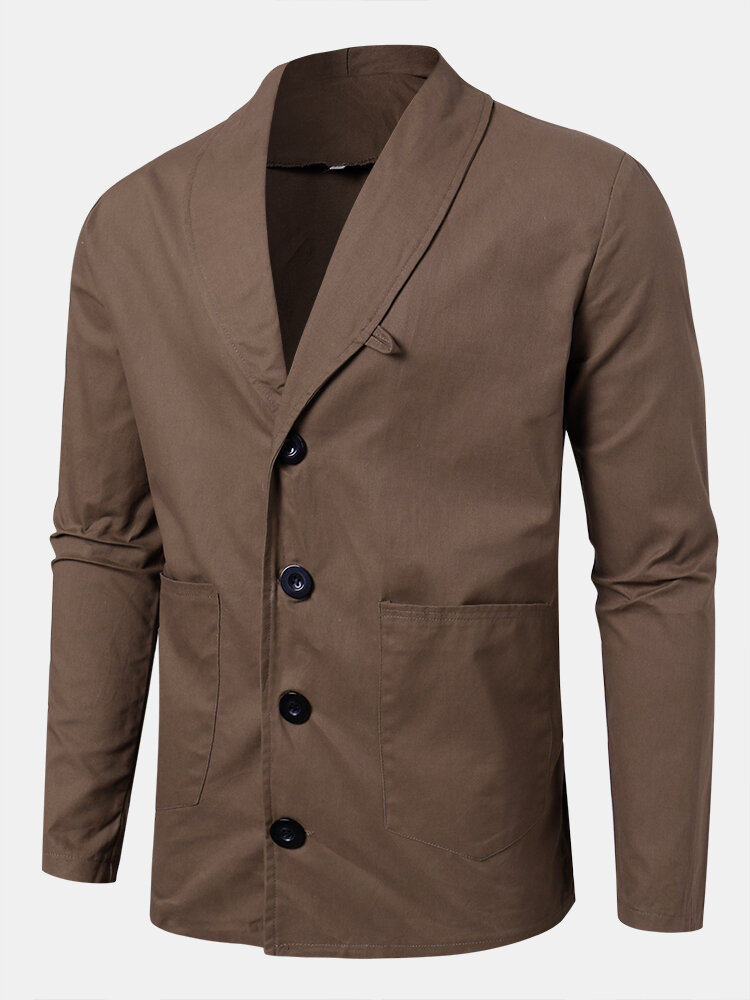 Mens Vintage Single-Breasted Solid Color Double Pockets Casual Jacket