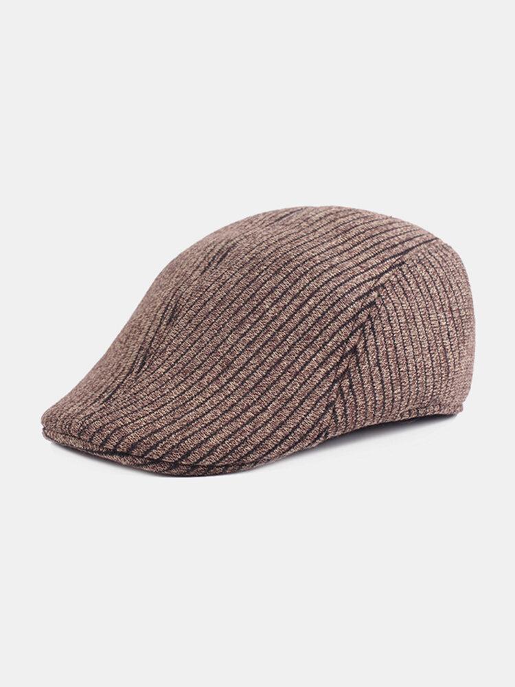Mens Solid Color Stripe Cotton Beret Caps Adjustable Outdoor Keep Warm Forward Hat Newsboy Cap