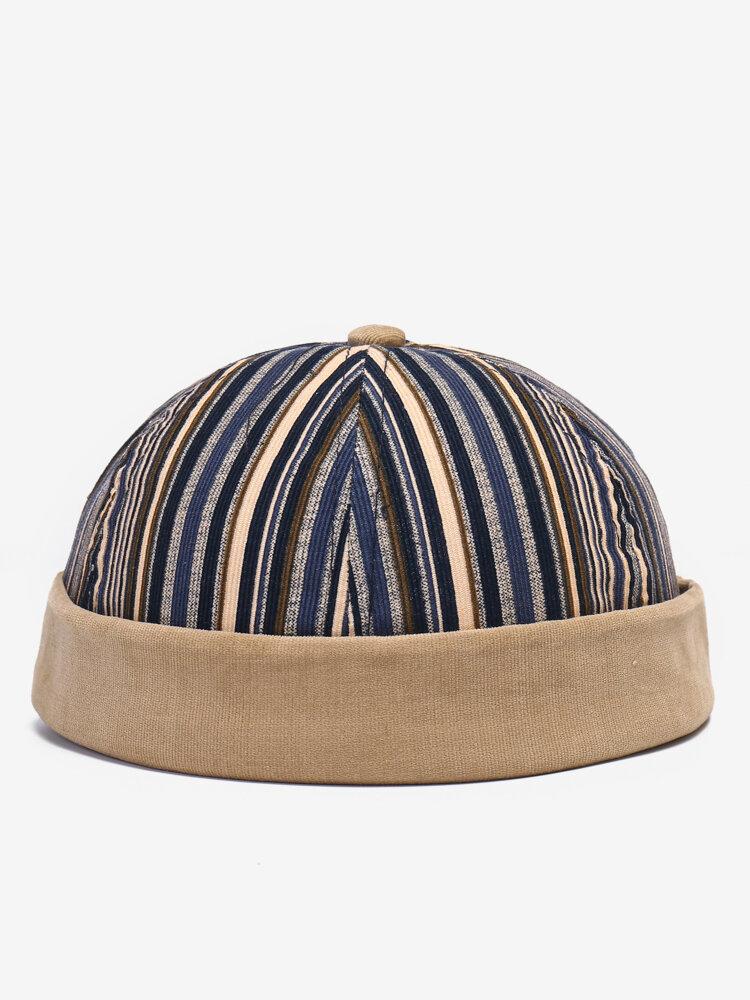COLLROWN Men & Women Stitching Stripe Pattern Casual Brimless Beanie Landlord Cap Skull Cap