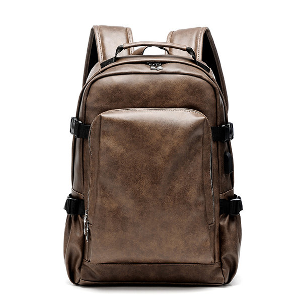 b18cb71858cc Men Business PU Leather Solid Backpack Casual Computer Bag
