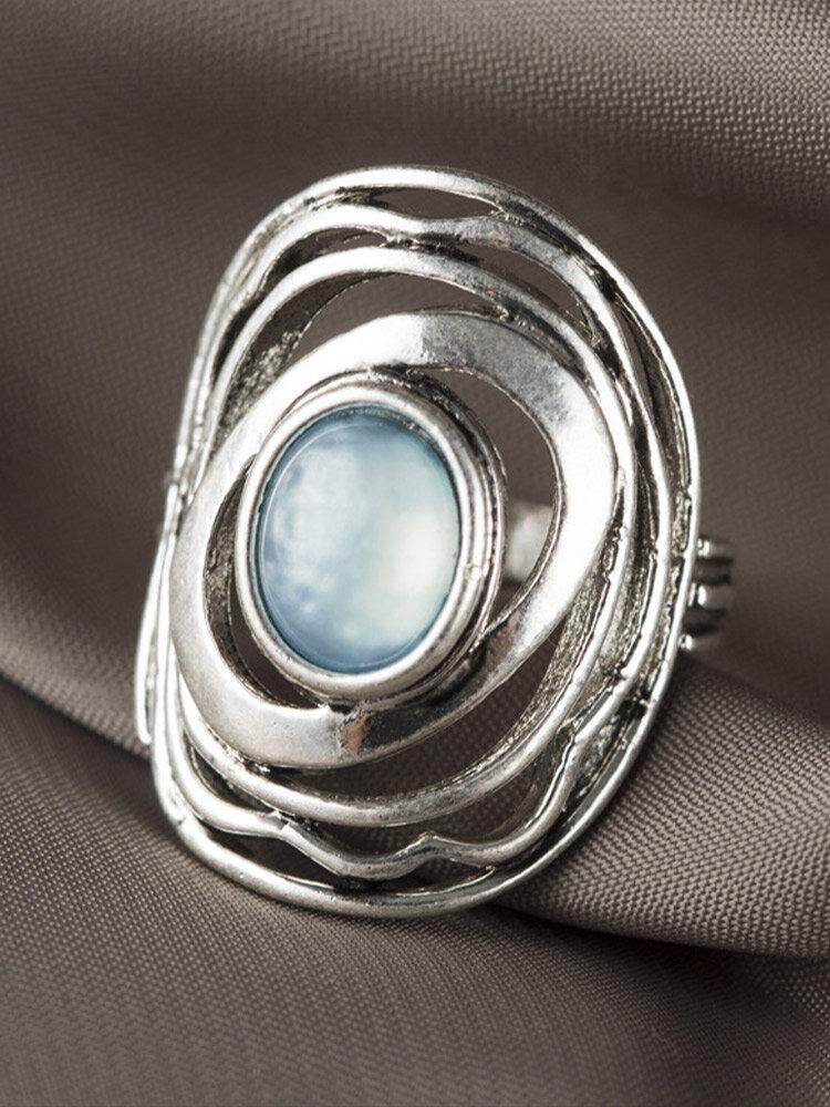 Vintage Trendy Geometric Irregular Hollow Round Shape Moonstone Copper Ring