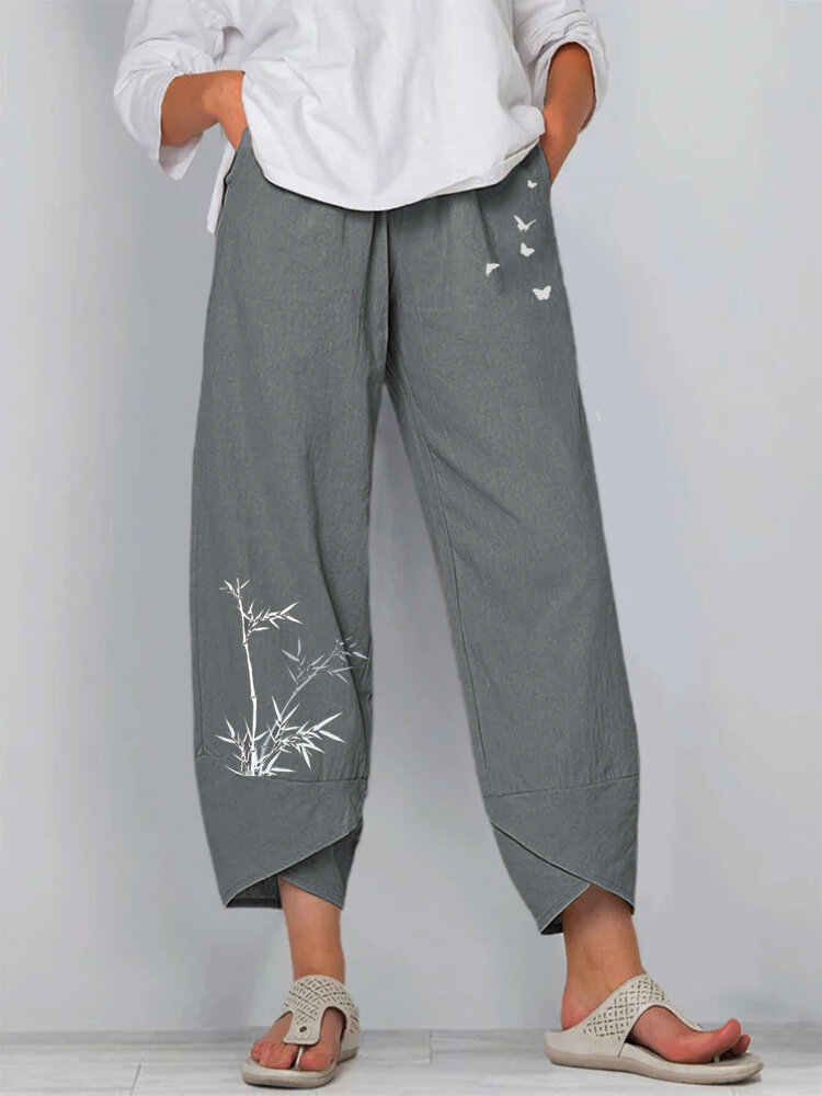 Bamboo Butterflies Print Elastic Waist Pants For Women