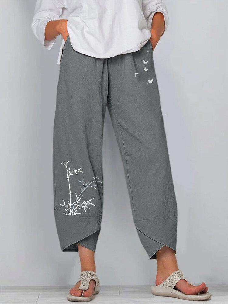 Bamboo Butterflies Print Elastic Waist Pants For Women