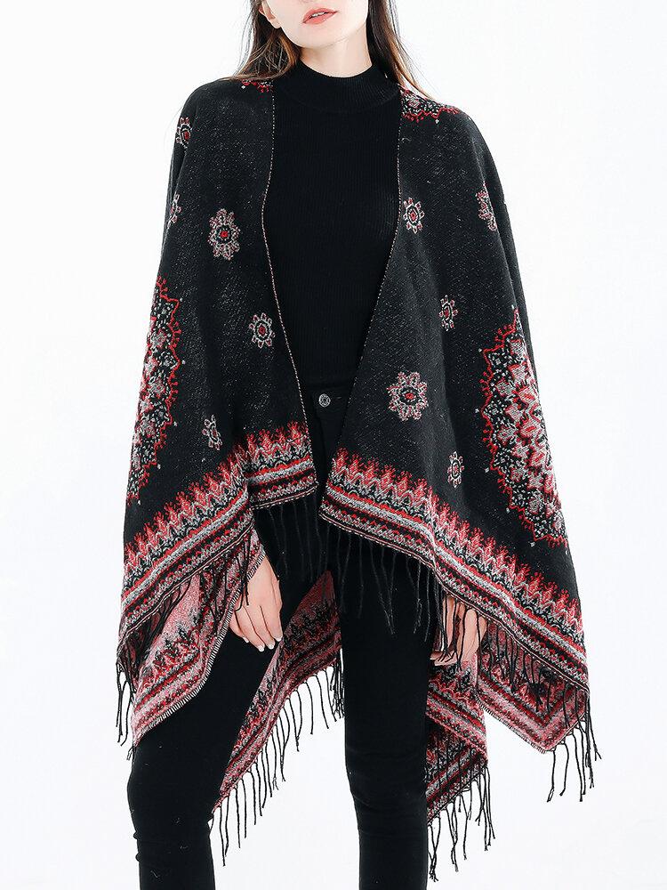 Women Vintage Ethnic Style Tassel Woolen Blending Scarf Shawl Casual Warm Breathable Scarf