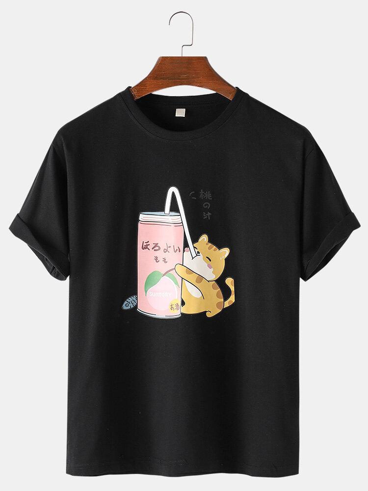 Mens Cartoon Cat Print Cotton Loose Light Casual Round Neck T-Shirts