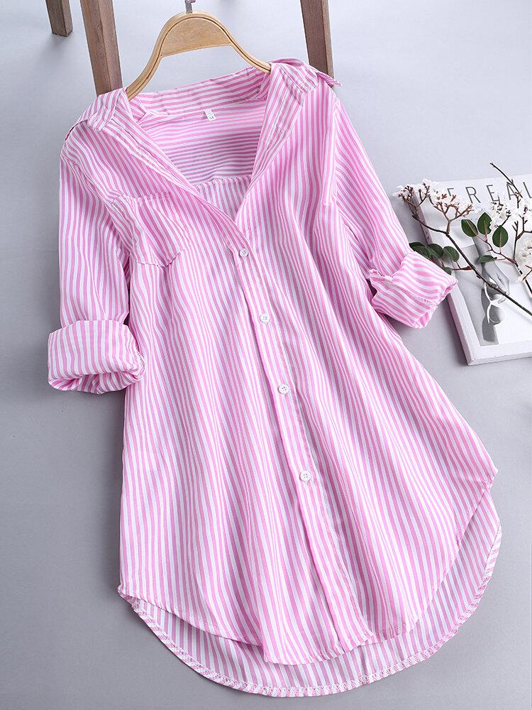 d0600570e637e ZHI Chic Stripe Long Sleeve Turn-down Collar Loose Shirts Cheap - NewChic