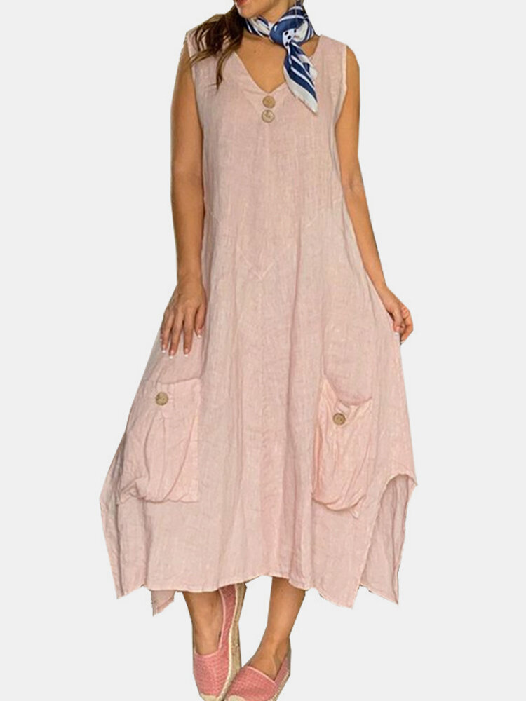 Loose Solid Color Button Sleeveless Splited Casual Dress For Women