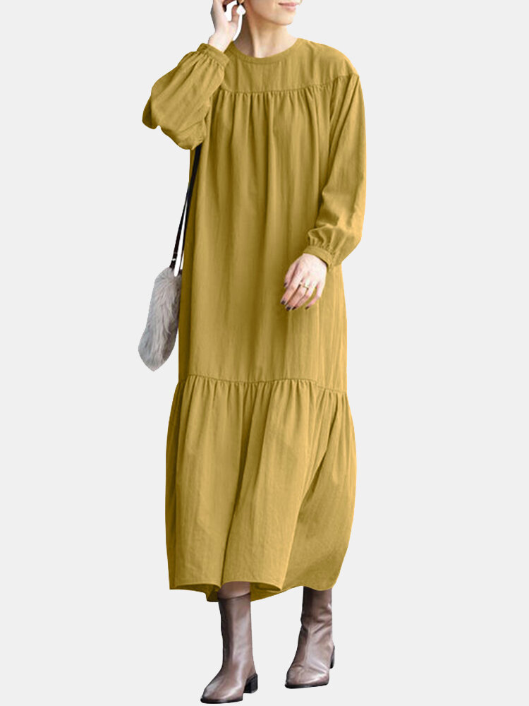 WomenSolid Color Patchwork Long Sleeve Loose Casual Dress