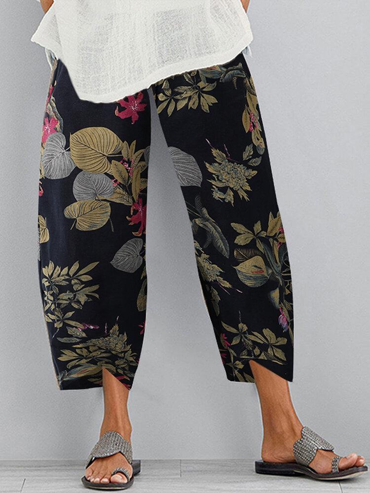 Vintage Print Elastic Waist Casual Pants For Women