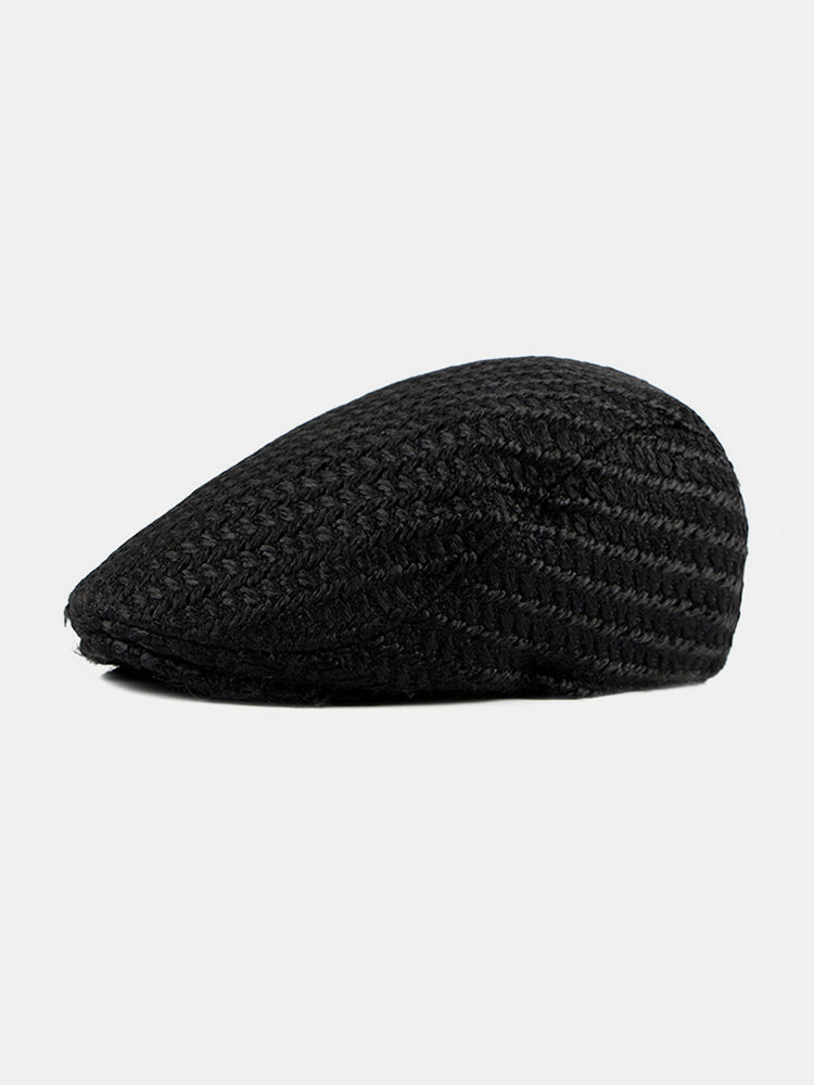 Men Knitted Solid Color Outdoor Leisure Wild Forward Hat Flat Cap