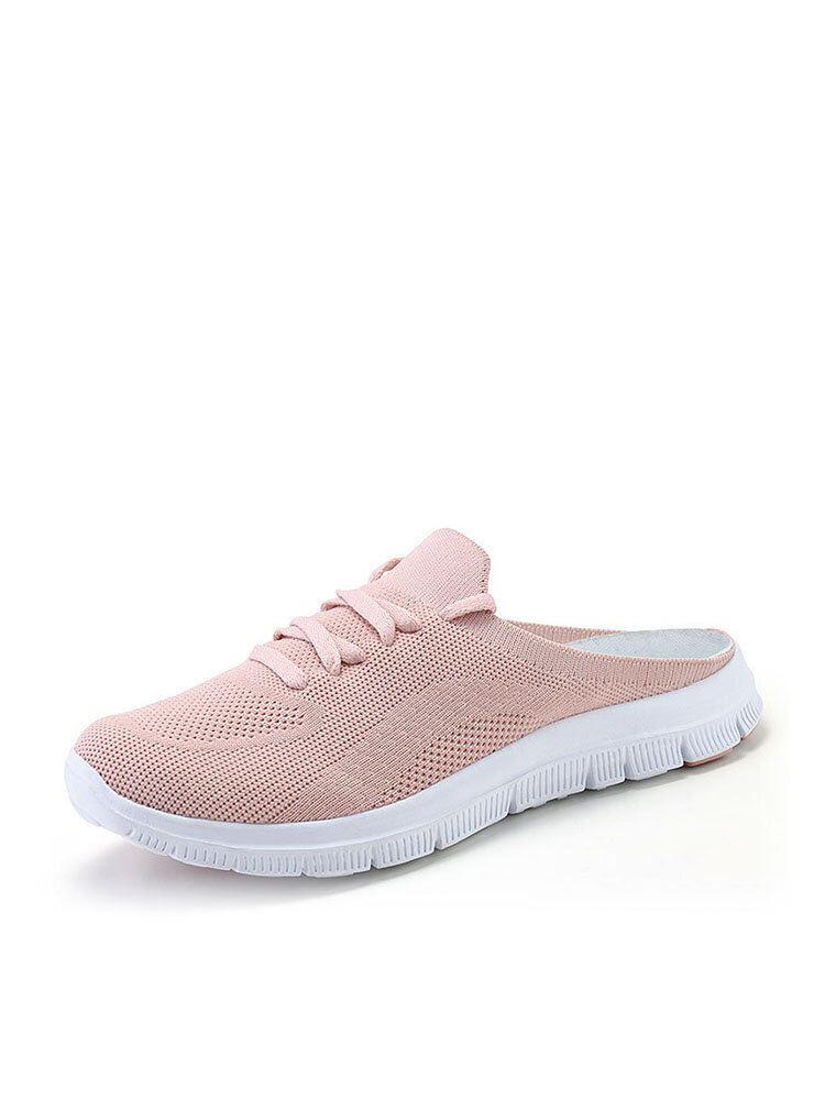 Women Knitted Elastic Band Casual Backless Slippers