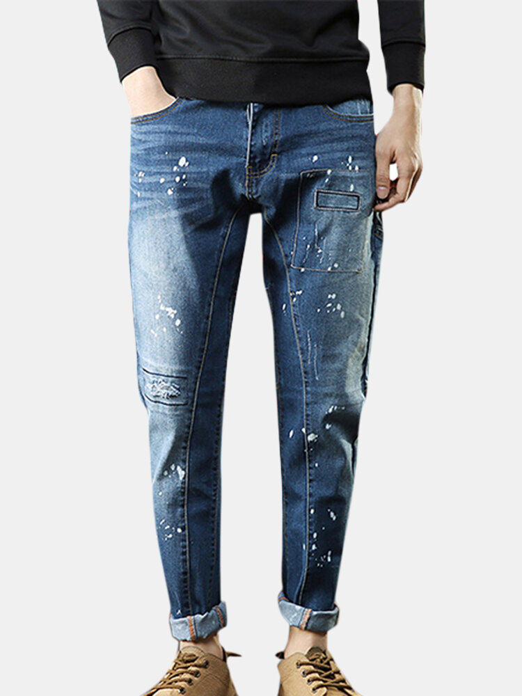 Mens Blue Printing Holes Patch Mid Waist Washed Cotton Jeans