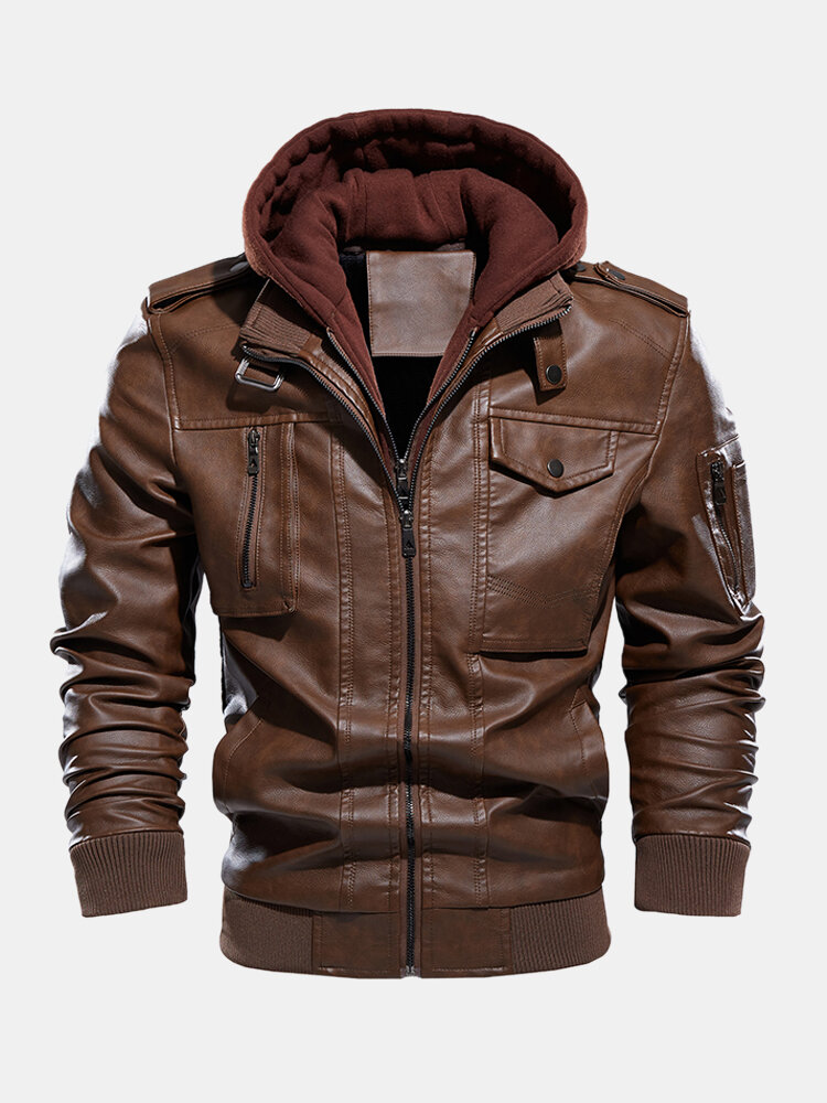 Mens Washed PU Leather Zip Up Pocket Detachable Hooded Elastic Hem Thick Jackets